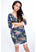 BLACK ALOHA FLOWER PRINT TUNIC ILM
