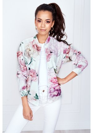 WHITE BOMBER JACKET IN ROSE PRINT ILM