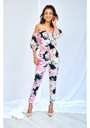 BLACK JUMPSUIT IN ROSE PRINT
