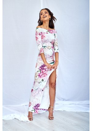 WHITE BODYCON MAXI DRESS IN ROSE PRINT