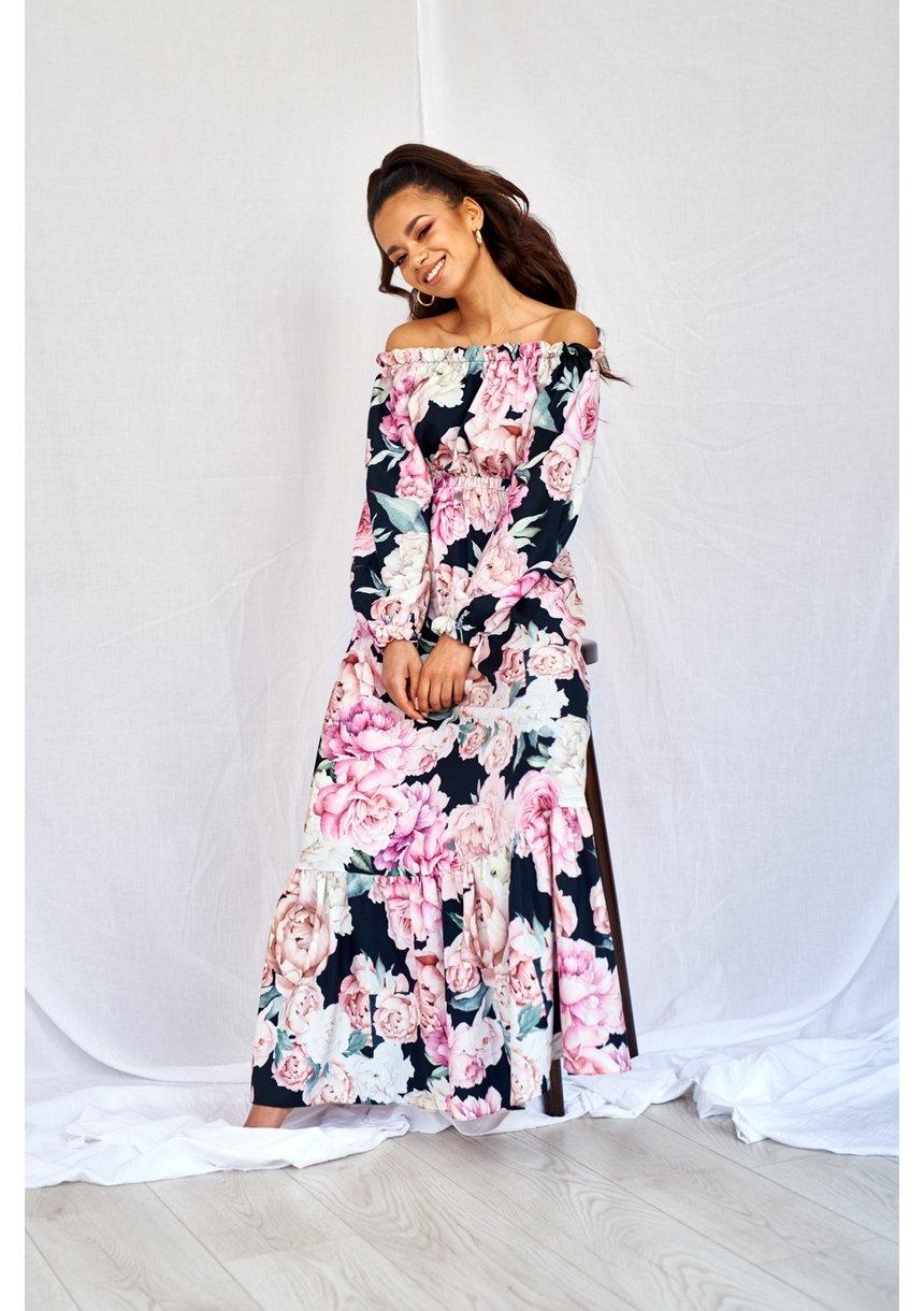 SUKIENKA MAXI BLACK ROSE PRINT