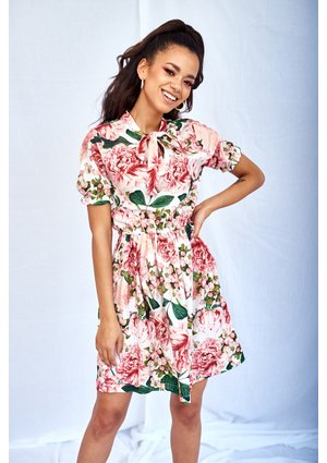 FLOWERS PRINT DRESS WITH A BOW