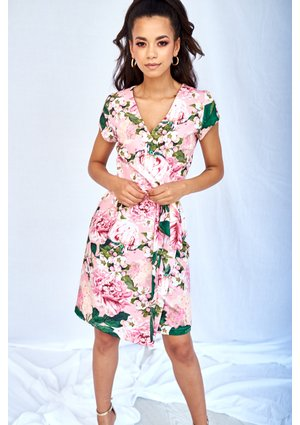 WRAP DRESS IN PINK PEONY PRINT
