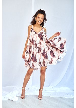 SATIN DRESS IN TIE DYE PRINT