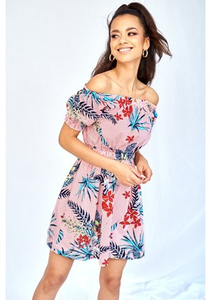 POPLIN OFF SHOULDERS DRESS IN FLOWERS PRINT