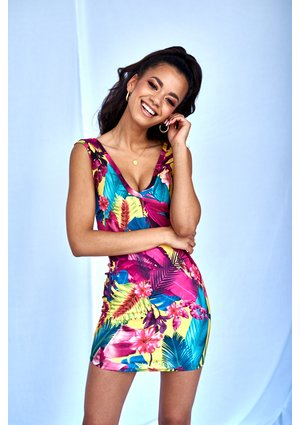 MINI DRESS IN JUNGLE COLORS PRINT ILM