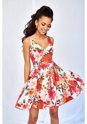 PINK SKATER DRESS IN RED FLOWERS PRINT