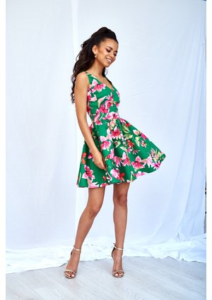 GREEN SKATER DRESS IN FLOWERS PRINT