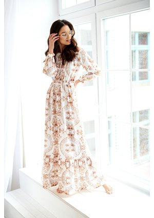 MAXI WHITE DRESS IN BAROCOUE PRINT
