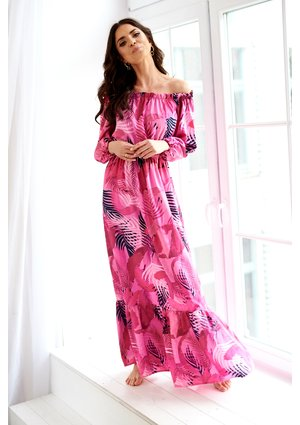MAXI DRESS IN PINK LEAVES PRINT