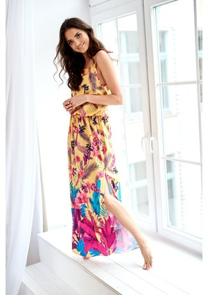 MAXI DRESS IN JUNGLE COLORS PRINT