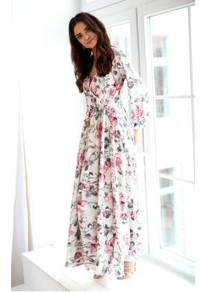 MAXI DRESS IN POWDER FLOWERS PRINT