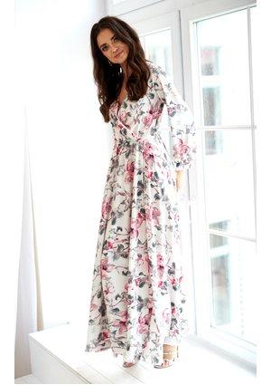MAXI DRESS IN POWDER FLOWERS PRINT