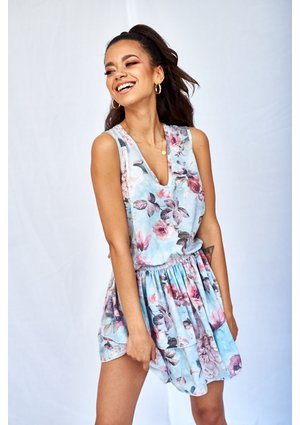 V-NECK POWDER FLOWERS DRESS