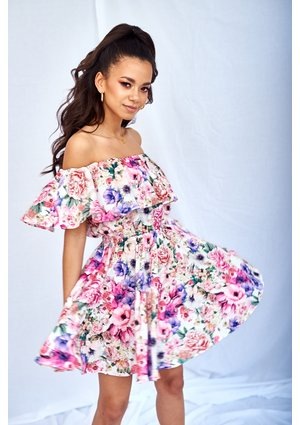 SUMMER FLOWERS PRINT DRESS WITH FRILLS