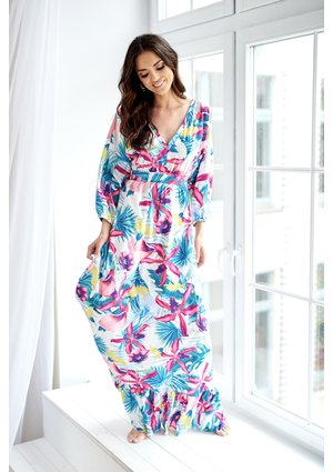 MAXI DRESS IN PINK FLOWERS PRINT