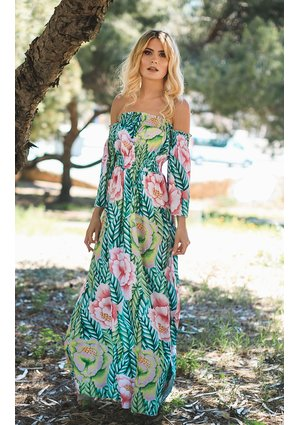 MAXI DRESS IN FLOWERS AND LEAVES PRINT
