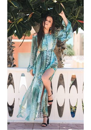 MAXI CHIFFON DRESS BLUE LAGOON PRINT