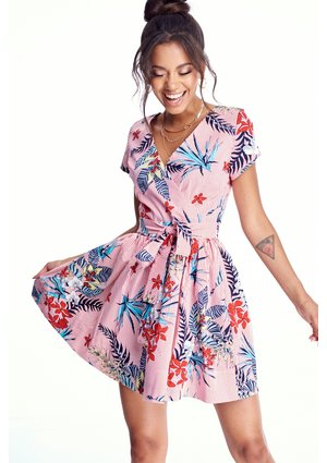 SKATER POPLIN DRESS IN FLOWERS PRINT