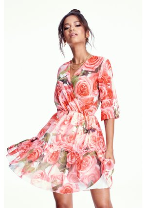 CHIFFON DRESS IN ROSES PRINT