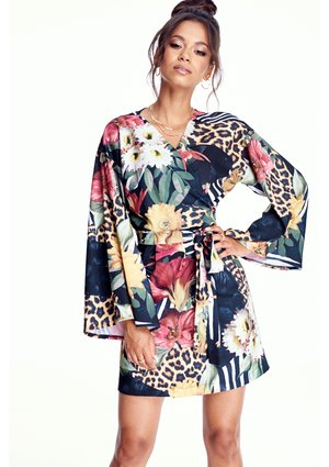 KIMONO DRESS IN JUNGLE PRINT