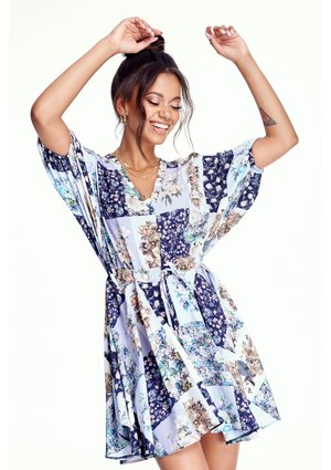 PATCHWORK FLOWERS PRINT DRESS