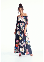 SUKIENKA MAXI BLACK FLOWER