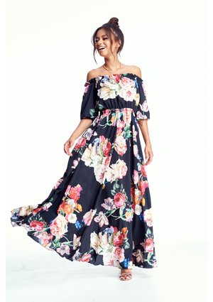 BLACK MAXI DRESS IN FLOWERS PRINT