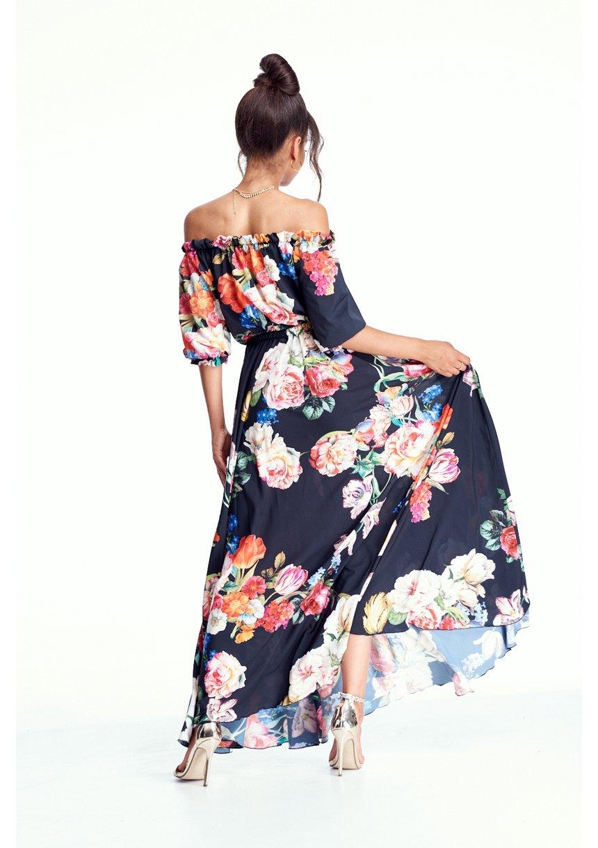 SUKIENKA MAXI BLACK FLOWER