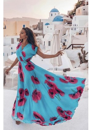 MAXI DRESS IN AMARANT FLOWERS PRINT
