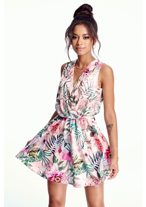 CROSSOVER DRESS IN FLOWERS PRINT