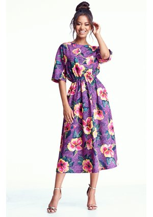 MIDI DRESS IN PINK FLOWERS PRINT