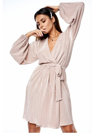 PLEATED CROSSOVER DRESS IN NUDE COLOR