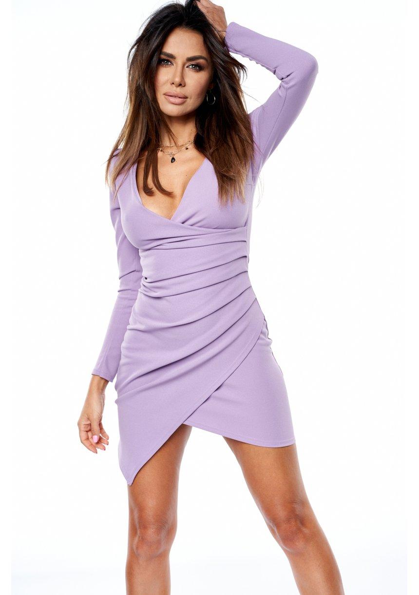 Dopasowana sukienka z asymetrią Fiolet