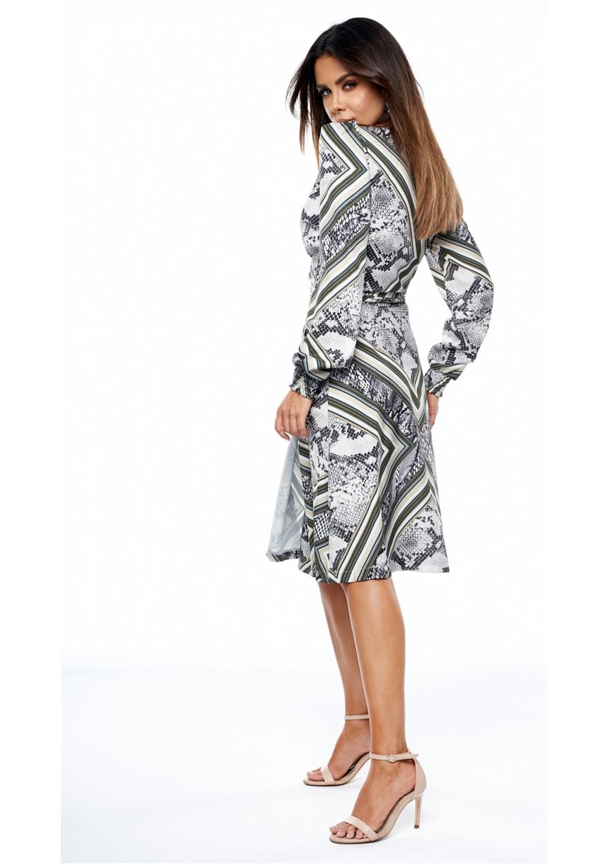 Kopertowa sukienka MIDI wężowy nadruk