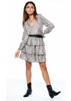 Sukienka z trzema falbanami print
