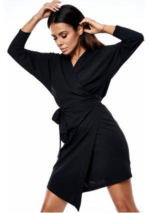 BLACK CROSSOVER DRESS WITH ASYMMETRIC SKIRT