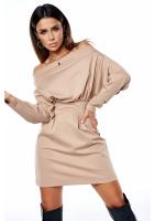 Ołówkowa sukienka z luźną górą Beżowa