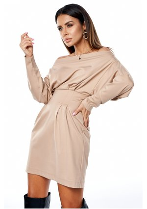 BEIGE DRESS WITH LOOSE TOP
