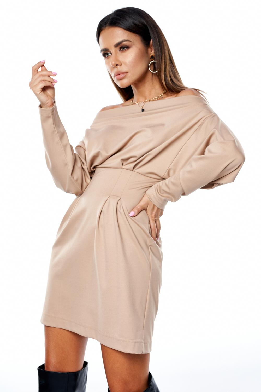 Sukienka z luźną górą Beżowa