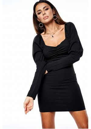 BLACK MINI DRESS WITH LONG SLEEVES