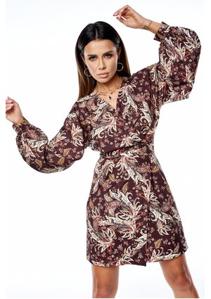 AUTUMN PRINT DRESS WITH BELL SLEEVES