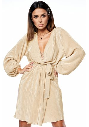 PLEATED CROSSOVER DRESS IN GOLD COLOR