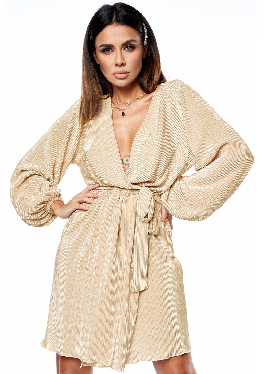kopertowa plisowana sukienka Gold