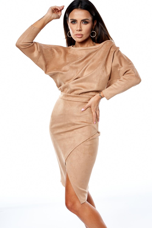 Sukienka midi z tkaniny imitującej zamsz Beżowa