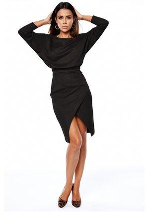 Sukienka midi z tkaniny imitującej zamsz Czarny