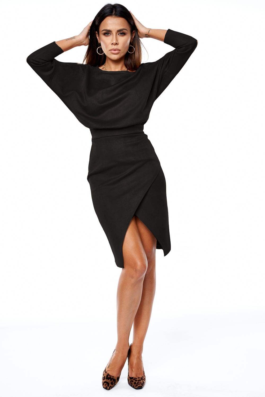 Sukienka midi z tkaniny imitującej zamsz Czarna