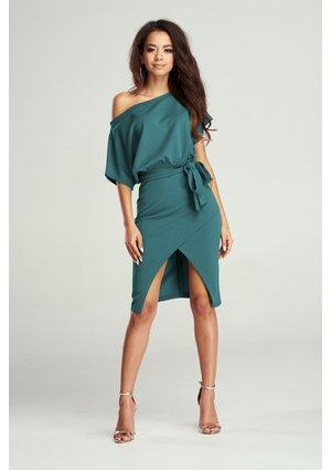 Sukienka MIDI z kimonową górą zielona