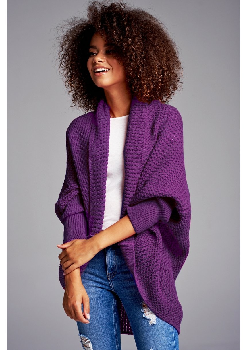 SWETER NARZUTKA OVERSIZE ILM A01 FIOLETOWY