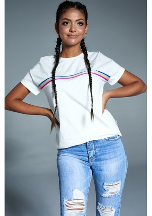 BRAND LOGO T-SHIRT WITH RAINBOW STRIPE ILM